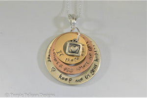 Gold and Sterling Silver Necklace - If There Ever Comes A Day When We Can't Be Together - Pooh  Quote - Purple Pelican Designs