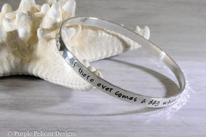 Pooh Quote Sterling Silver Bangle - If There Ever Comes A Day When We Can't Be Together... - Purple Pelican Designs