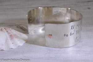 Pooh Friendship Quote Sterling Silver Cuff Bracelet - If You Live To Be 100, I Want To Live To Be 100 Minus 1 Day... - Purple Pelican Designs