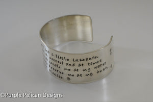 Marilyn Monroe quote bracelet - I'm selfish, impatient and a little insecure... - Purple Pelican Designs