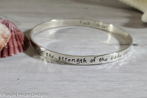 F**K Cancer Bangle Bracelet It Is Not The Strength Of The Body That Counts... - Purple Pelican Designs