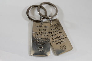 Police/Firefighter/Military Keychain - Keep Him Safe Day And Night... - Purple Pelican Designs