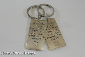 Firefighter/Police/Military keychain - Keep him safe day and night... - Purple Pelican Designs