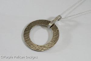 Sterling Silver Hammered Circle Necklace - Purple Pelican Designs
