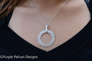 hammered sterling silver circle necklace hand stamped personalized jewelry purple pelican designs