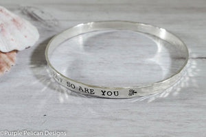 Inspirational Quote Bangle Bracelet Life Is Tough My Darling But So Are You - Purple Pelican Designs