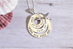 Live In The Sunshine Swim The Sea Drink The Wild Air Sterling Silver Pendant Necklace - Purple Pelican Designs