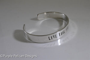 Live Long And Prosper -  Hand stamped bracelet - Purple Pelican Designs
