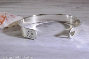 Love Needs No Words Autism Awareness Cuff Bracelet - Purple Pelican Designs