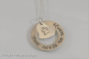 Love Needs No Words Autism Awareness Necklace - Purple Pelican Designs