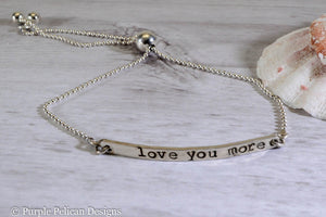 Love You More Adjustable Sterling Silver Bracelet - Purple Pelican Designs
