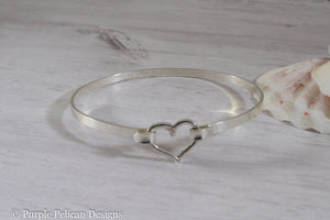 Love You More Hinged Bangle Sterling Silver