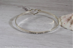 Love You More Hinged Bangle Sterling Silver - Purple Pelican Designs