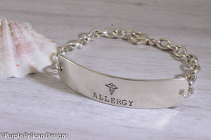 Allergy Medical Alert Personalized Chain Bracelet - Purple Pelican Designs