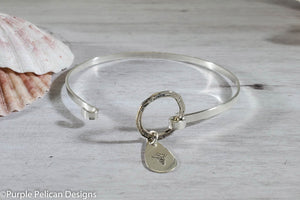Medical Alert Peanut Allergy Hinged Bangle Bracelet - Purple Pelican Designs