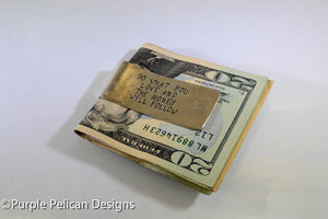 Money Clip - Do What You Love And The Money Will Follow - Purple Pelican Designs