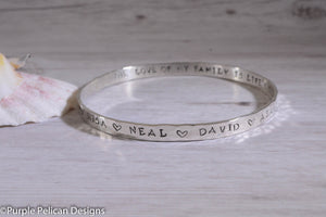Personalized  Mother's Bangle - Purple Pelican Designs