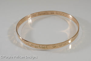 18k Solid Gold Mother's Bangle - Personalized