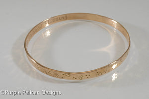 18k Solid Gold Mother's Bangle - Personalized - Purple Pelican Designs