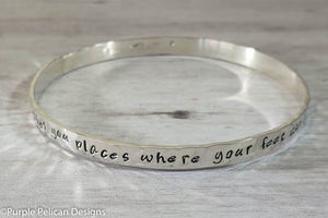 Music Lovers Bangle Bracelet Music Takes You Places Where Your Feet Can Never Go - Purple Pelican Designs