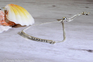 Yoga Bracelet - Namaste - Adjustable Sterling Silver Bracelet - Purple Pelican Designs