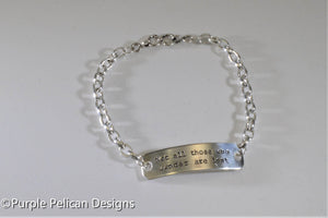 Not all those who wander are lost chain bracelet - Purple Pelican Designs