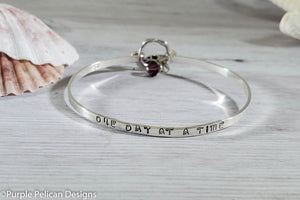 Inspirational Sterling Silver Hinged Bangle - One Day At A Time - Purple Pelican Designs