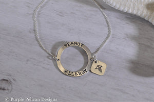 Peanut Allergy Medical Alert Adjustable Round Sterling Silver Bracelet - Purple Pelican Designs