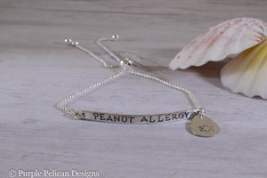Peanut Allergy Medical Alert Adjustable Sterling Silver Bracelet - Purple Pelican Designs