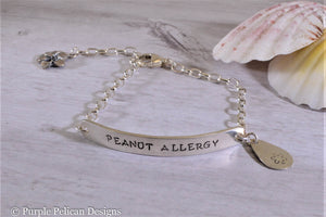 Peanut Allergy Medical Alert Chain Bracelet - Purple Pelican Designs