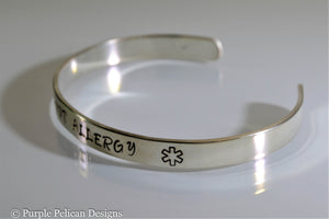 Peanut Allergy Medical Alert Cuff Bracelet Personalized - Purple Pelican Designs