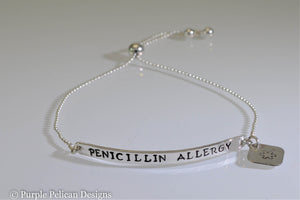 Penicillin Allergy Medical Alert Adjustable Sterling Silver Bracelet - Purple Pelican Designs