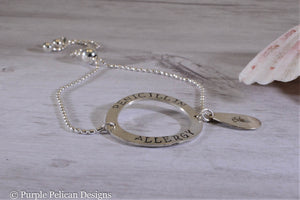 Penicillin Allergy Medical Alert Round Adjustable Sterling Silver Bracelet - Purple Pelican Designs