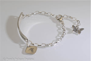 Penicillin Allergy Medical Alert Chain Bracelet - Purple Pelican Designs