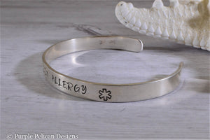 Penicillin Allergy Medical Alert Cuff Bracelet Personalized - Purple Pelican Designs