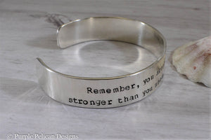 Pooh quote bracelet - Remember you are braver than you believe stronger than you seem... - Purple Pelican Designs