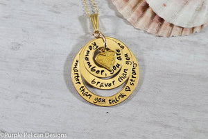 14k Gold Filled You are braver than you believe, stronger than you seem...Pooh Quote Necklace - Purple Pelican Designs