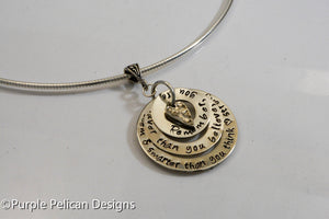 You are braver than you believe, stronger than you seem...Pooh Quote Sterling Silver Pendant  Necklace - Purple Pelican Designs