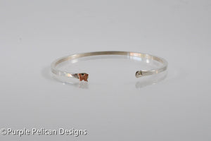 Solid Gold Or Sterling Silver Narrow Reverse Cuff With Tiny Butterfly - Purple Pelican Designs