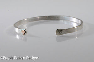 Solid Gold Or Sterling Silver Reverse Cuff With Tiny Heart - Purple Pelican Designs