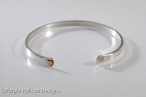 Solid Gold Or Sterling Silver Narrow Reverse Cuff With Tiny Heart - Purple Pelican Designs