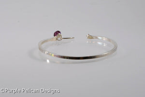 Solid Gold or Sterling Silver Narrow Runners Reverse Cuff Bracelet - Personalized with distance - Purple Pelican Designs