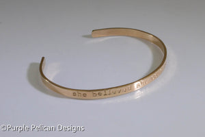 Solid Gold Custom Quote  Cuff Bracelet - hand stamped personalized jewelry Purple Pelican Designs