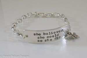 She believed she could so she did - chain bracelet - Purple Pelican Designs