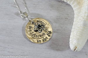 She believed she could so she did necklace - Purple Pelican Designs