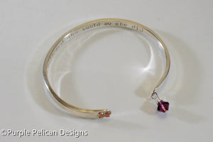 Solid Gold or Sterling Silver Reverse Cuff - She Believed She Could So She Did - Purple Pelican Designs