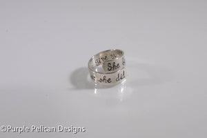 She believed she could so she did - ring - Purple Pelican Designs