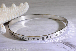 Soul of a Gypsy Heart of a Hippie Spirit of a Fairy sterling silver bangle bracelet hand stamped personalized jewelry - Purple Pelican Designs