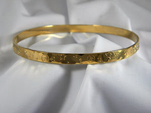 18k Solid Gold Custom Personalized Bangle - Purple Pelican Designs