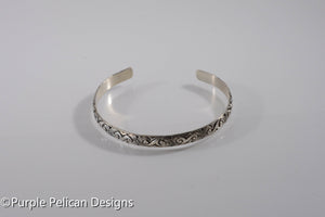 Sterling Silver Bracelet - Swirls and Blooms pattern